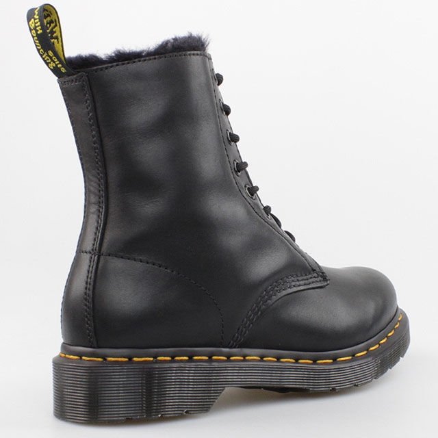 dr doc martens winter stiefel 8 loch boots schwarz kunst fell gef ttert leder ebay. Black Bedroom Furniture Sets. Home Design Ideas