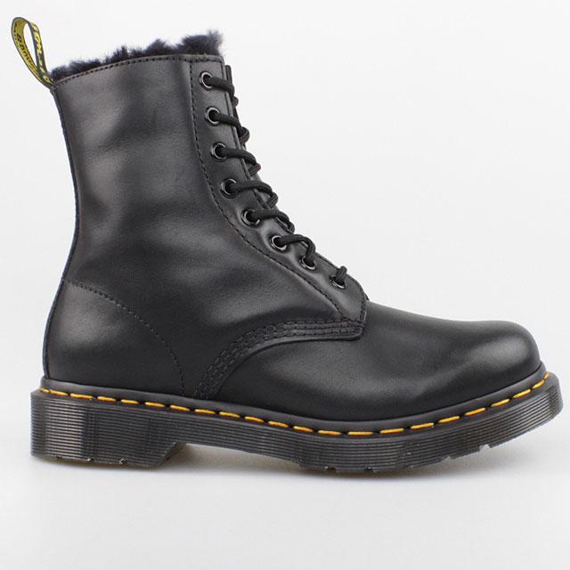 dr doc martens winter stiefel 8 loch boots schwarz kunst fell gef ttert leder ebay. Black Bedroom Furniture Sets. Home Design Ideas