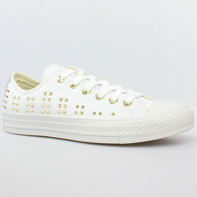 converse all star chucks ox white gold weiss leder nieten 542416c schuhe ebay. Black Bedroom Furniture Sets. Home Design Ideas