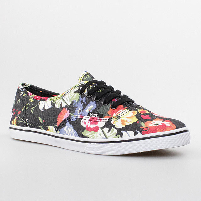 vans damen schuhe authentic lo pro black schwarz flowers blumen canvas era 59 ebay. Black Bedroom Furniture Sets. Home Design Ideas